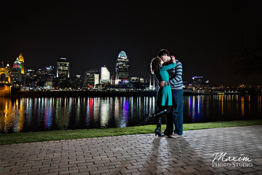Cincinnati night skyline engagement