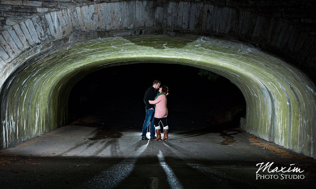 Spring Grove Cemetery Engagement under bridge