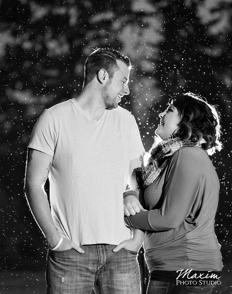 Black and white Engagement pictures Spring Grove Cemetery