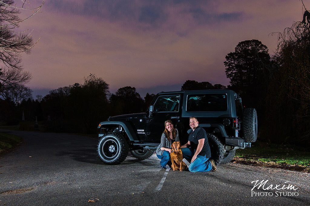 Spring Grove Off Camera Flash Engagement with Jeep