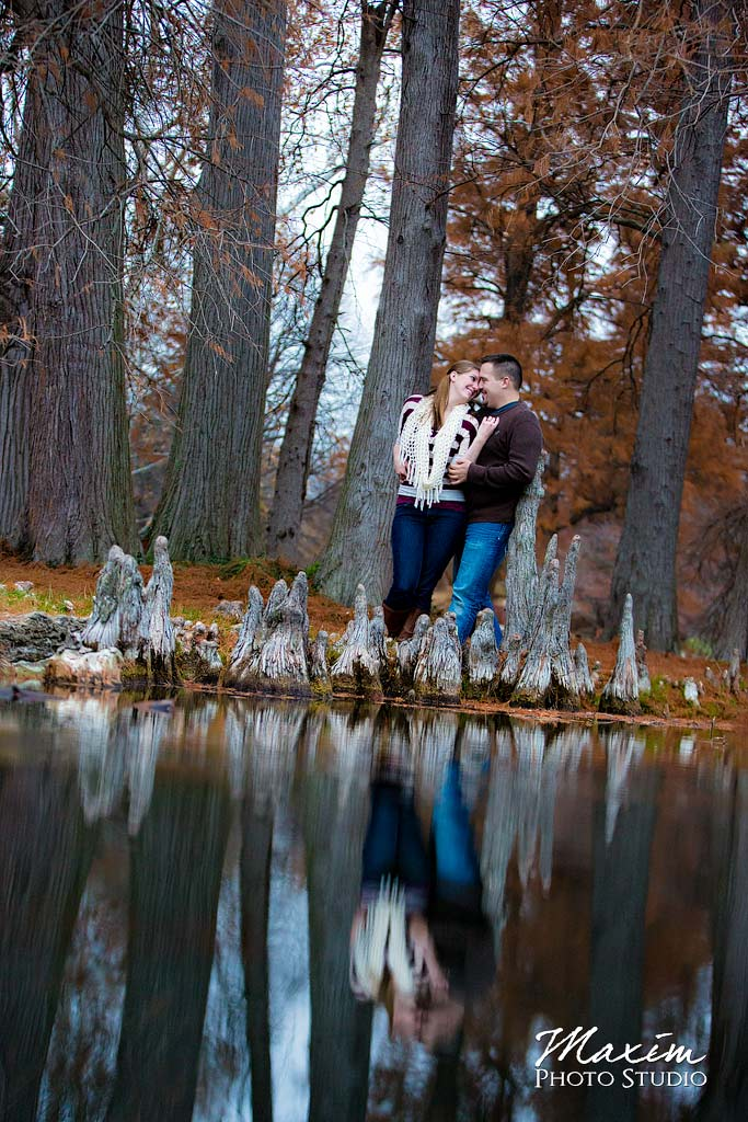 Spring Grove Cemetery Engagement water reflection