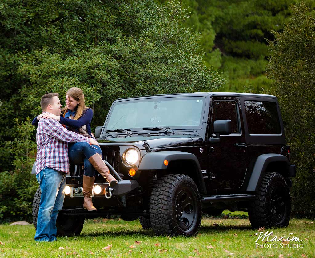 Jeep at Spring Grove Cemetery Engagement