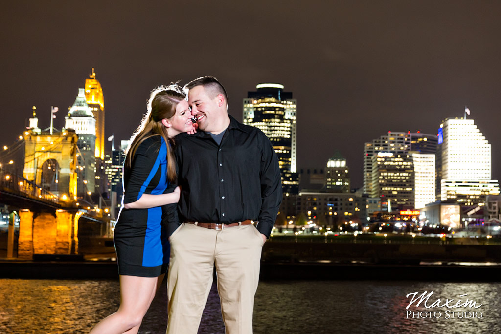 Downtown Cincinnati skyline nighttime engagement image LT