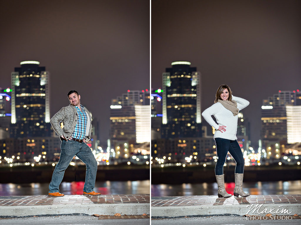 Cincinnati skyline night engagement