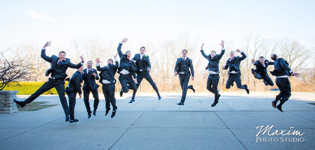 Ault Park Covington KY Wedding Grooms jump