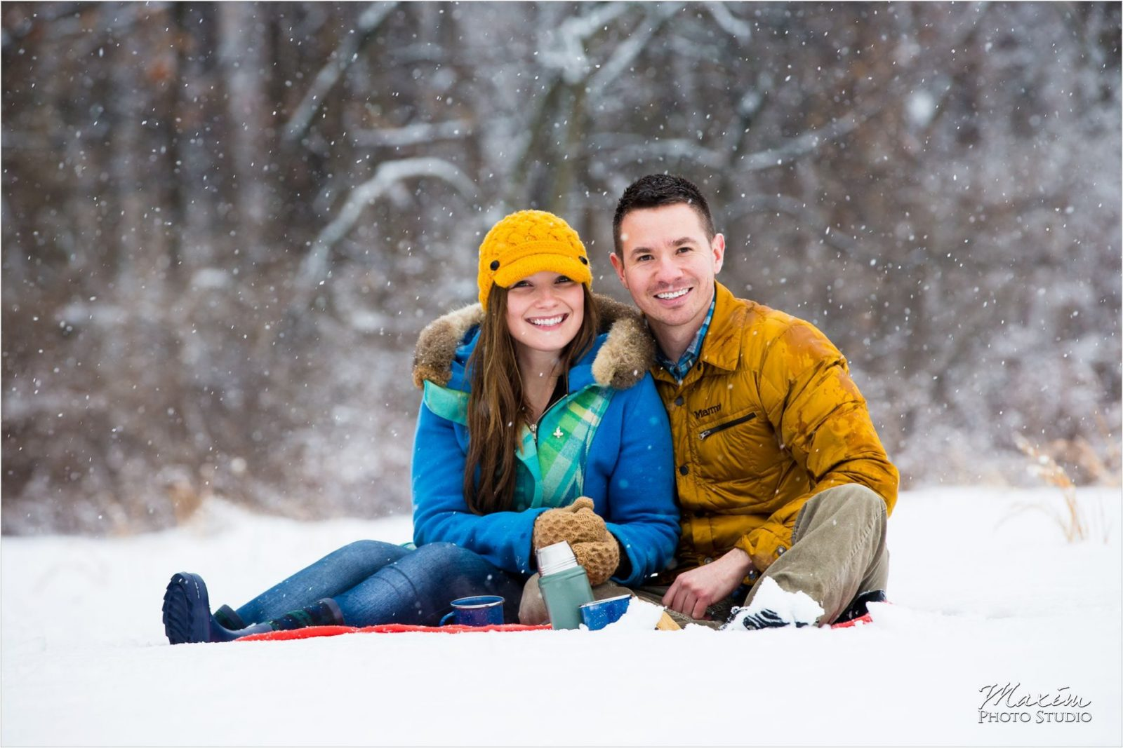 Winton Woods Snow Cincinnati Engagement hot chocolate
