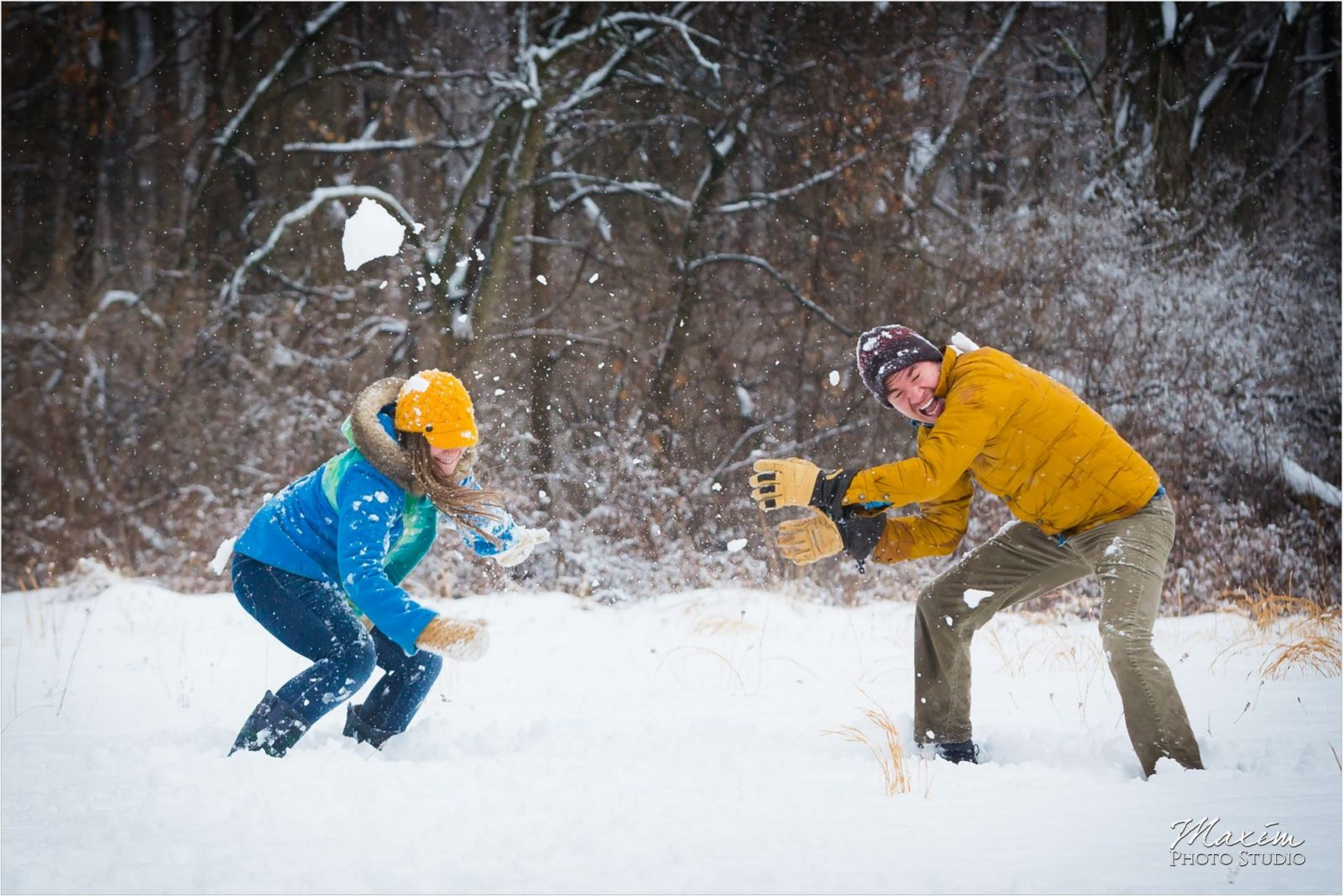 Winton Woods snowball fight engagement