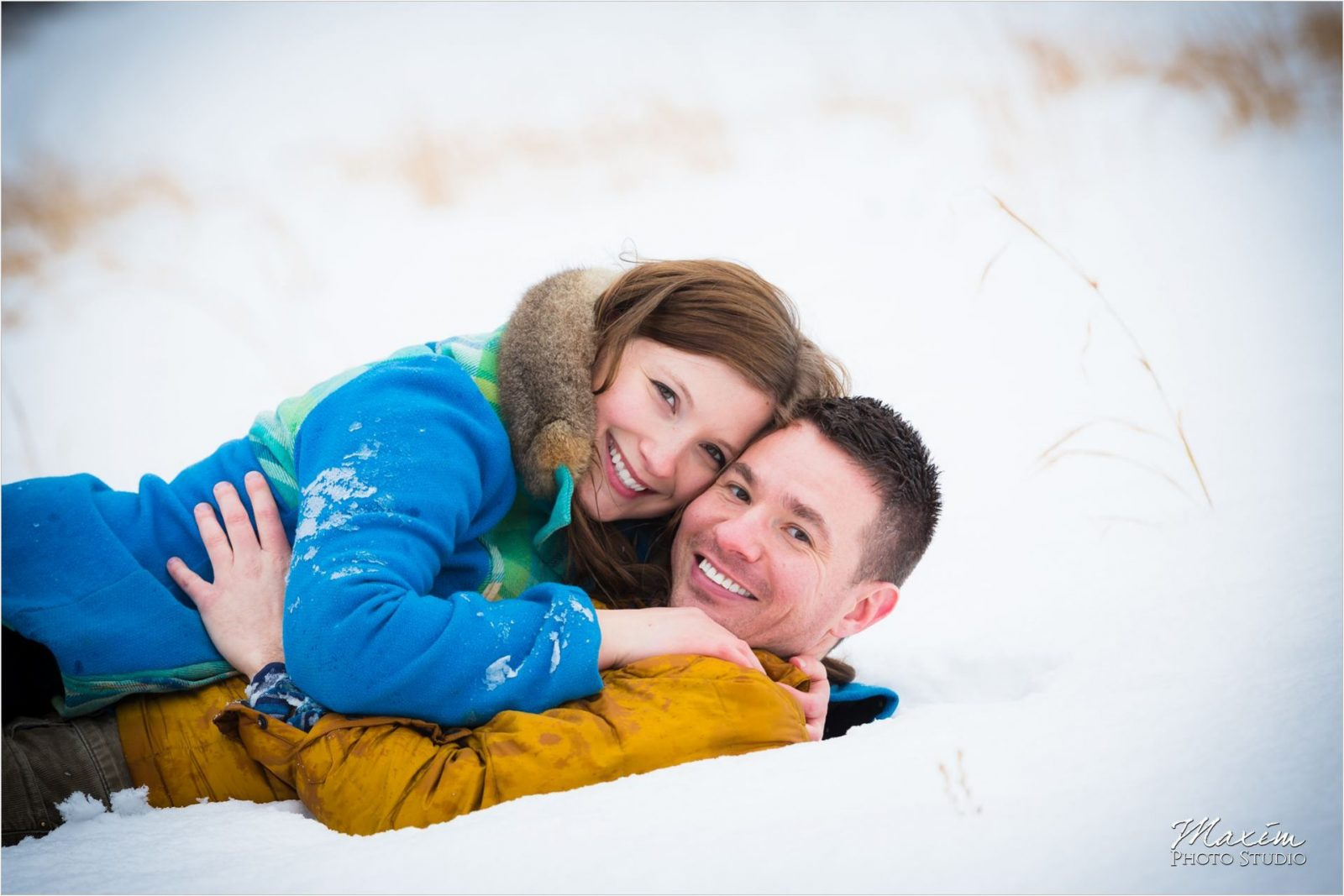 Winton Woods engagement couple in snow
