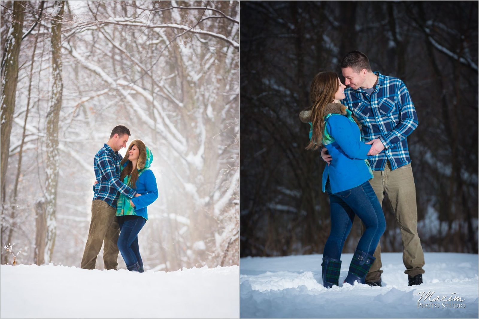 Winton Woods snow trees backlight engagement