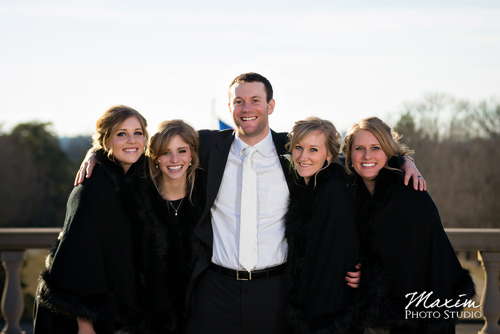 Ault Park Cincinnati Winter Wedding Groom