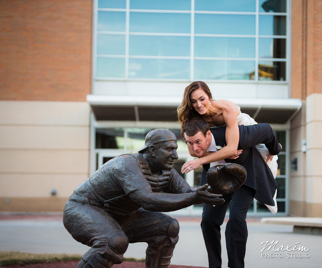 Great American Ballpark Cincinnati Wedding Portraits