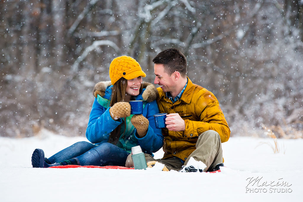 Winton Woods Engagement in snow
