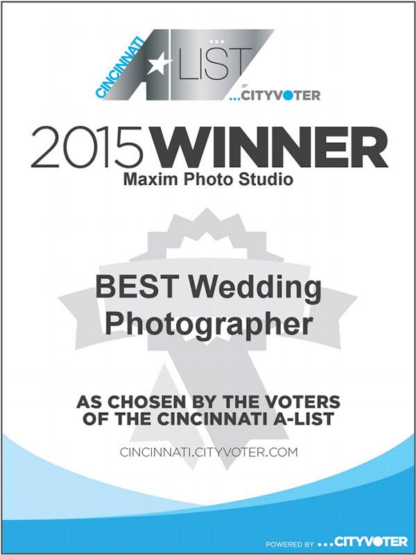 2015 Cincinnati A-list Best Wedding Photographer Winner