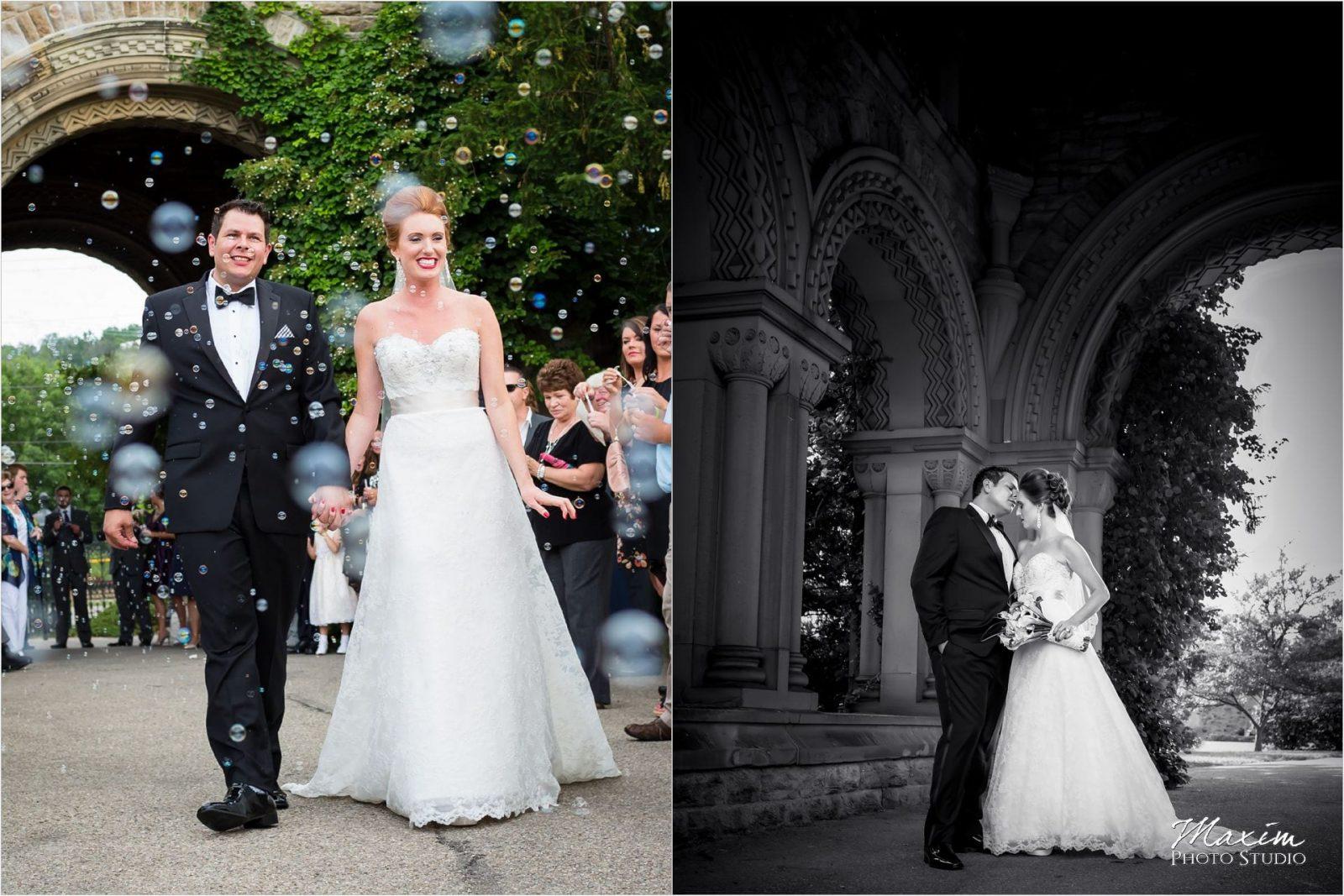 Norman Chapel, Cincinnati Wedding ceremony, wedding bubbles
