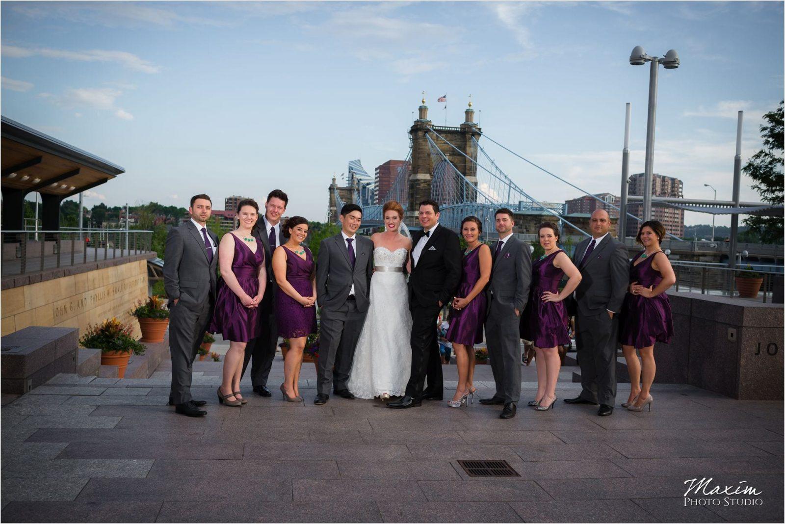 Smale Riverfront Park Bridal Party, Roebling Bridge, Marriott Rivecenter