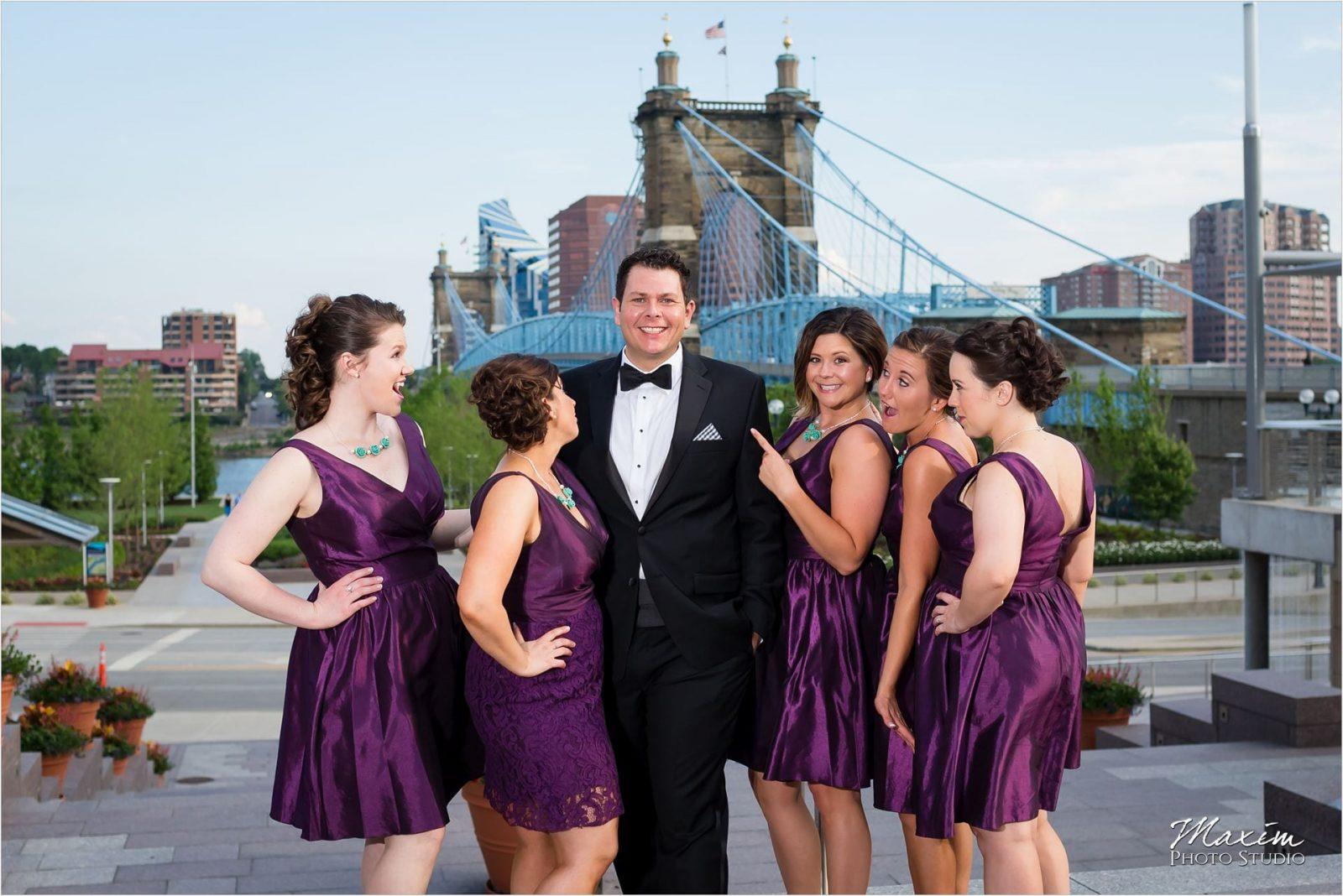 Smale Riverfront Park Groom Bridesmaids Party, Roebling Bridge, Marriott Rivecenter