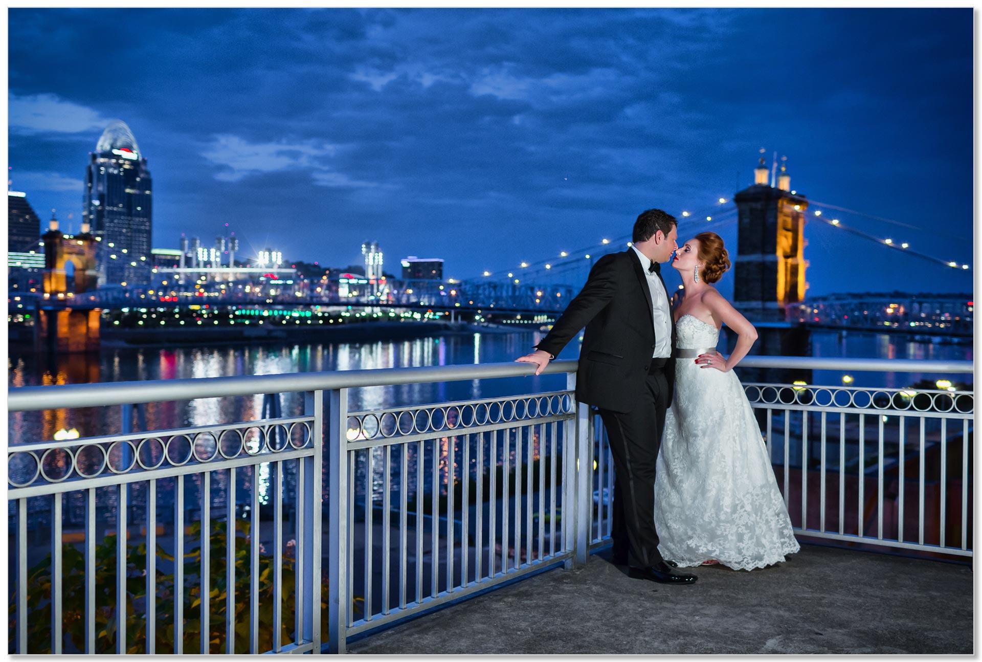 Cincinnati Marriott Rivercenter skyline roebling bridge wedding