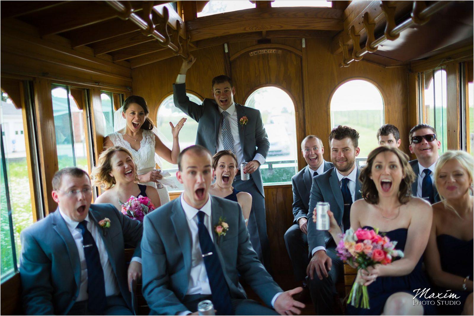 City of Augusta Trolley Potato Hill Farm Wedding Photography