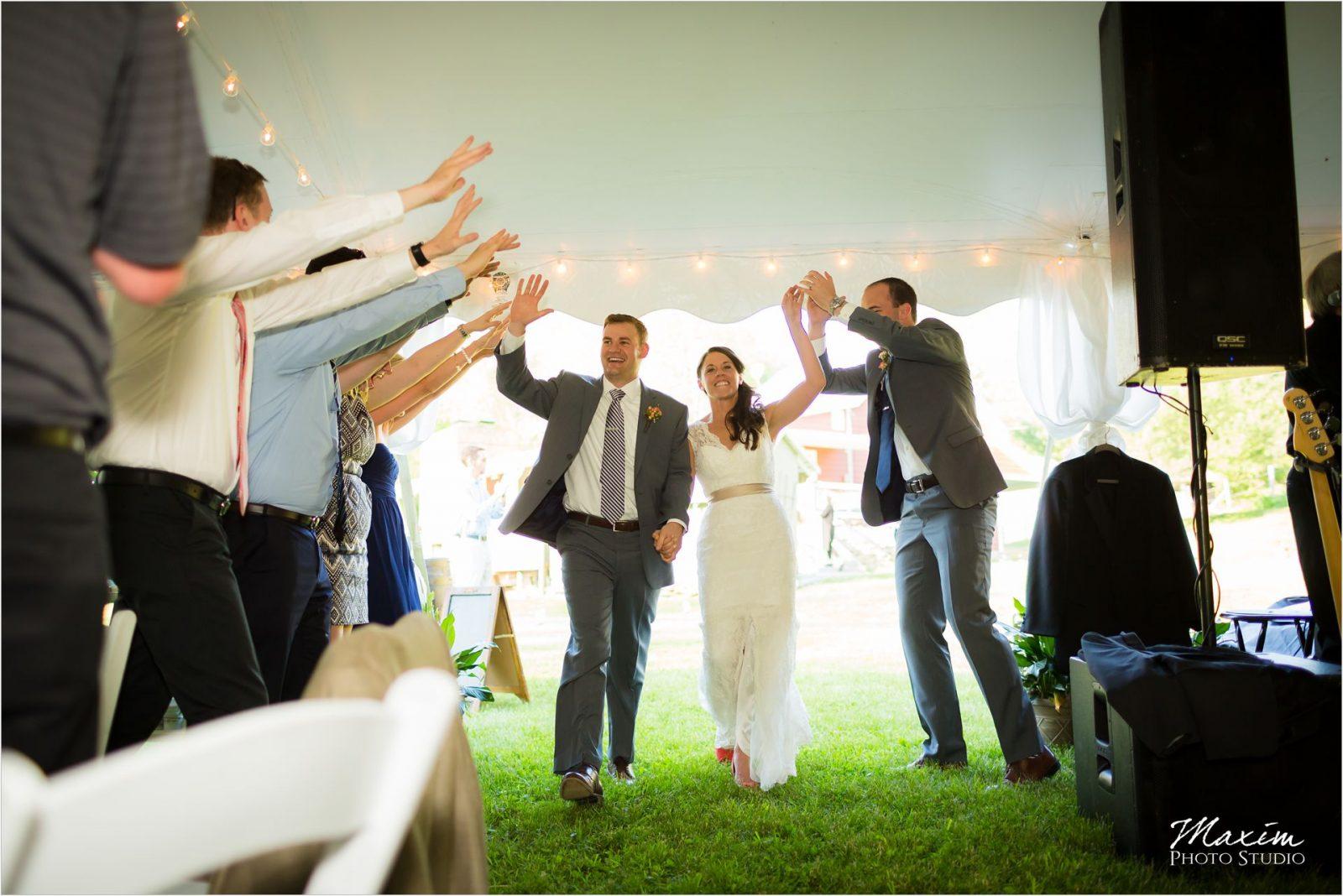 Potato Hill Farm Wedding Reception entrance Bride Groom