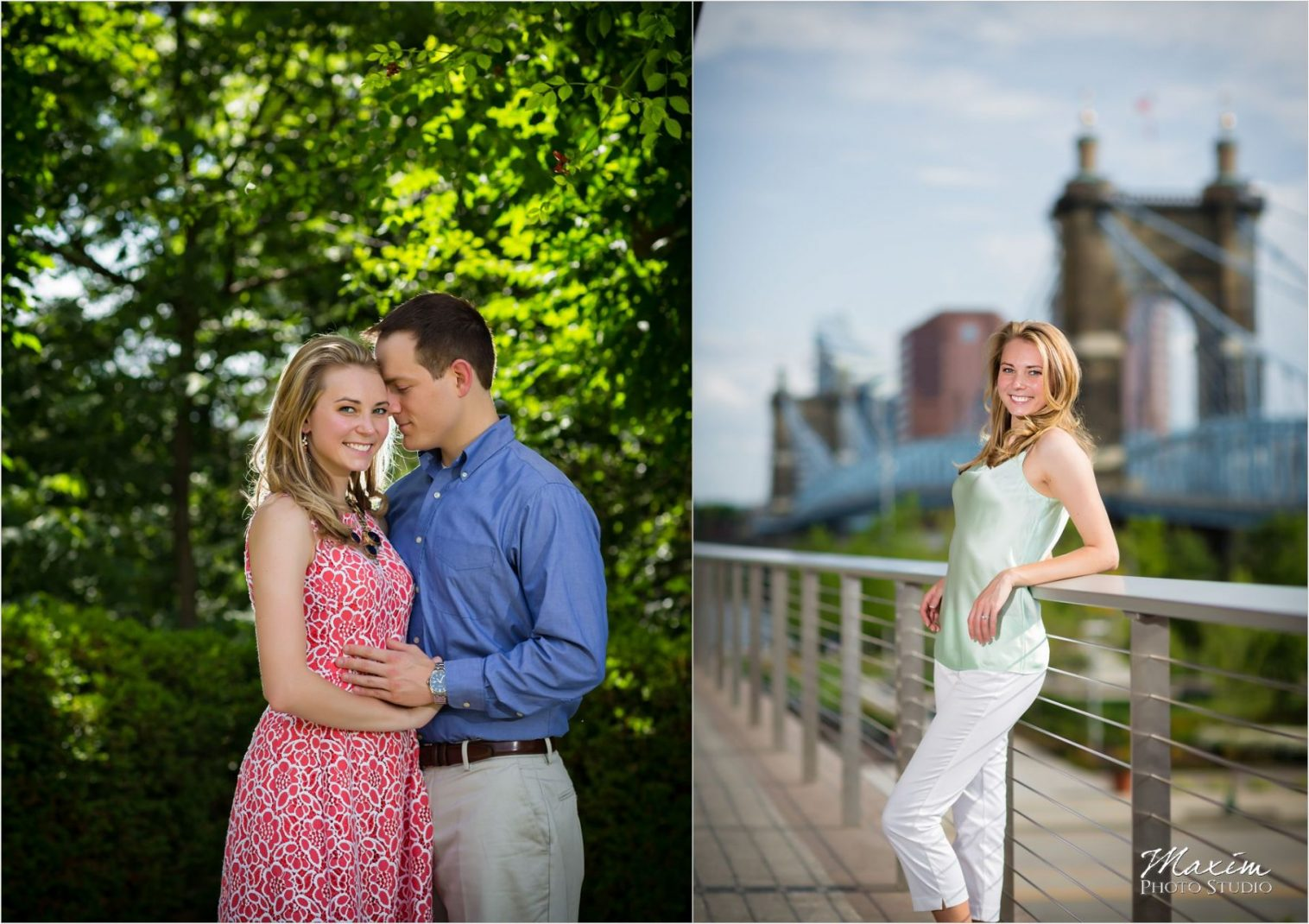 Ault Park Cincinnati Summer Engagement Bridge
