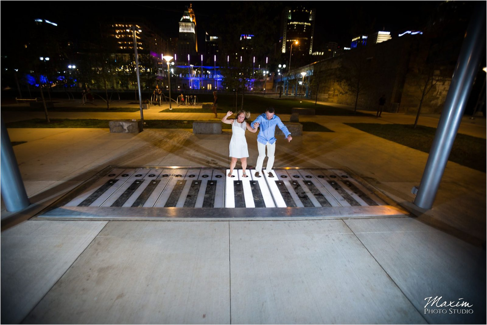 Smale Riverfront Park Night engagement pictures