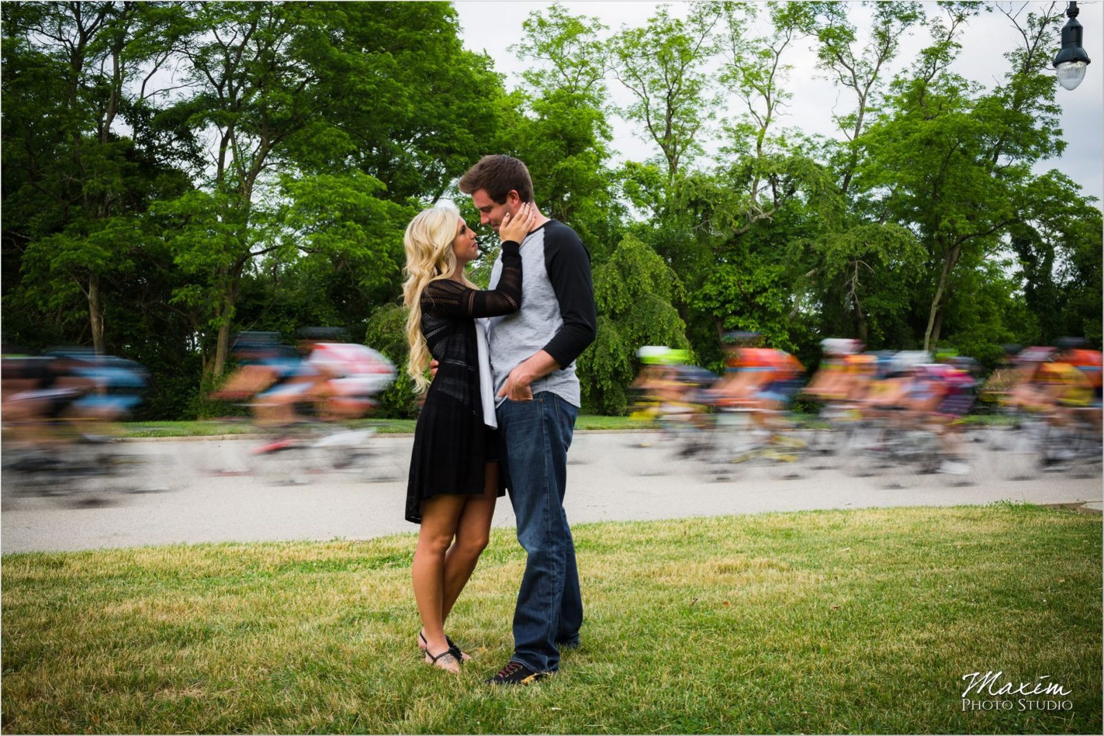 Ault Park bicycle race Summer Engagement