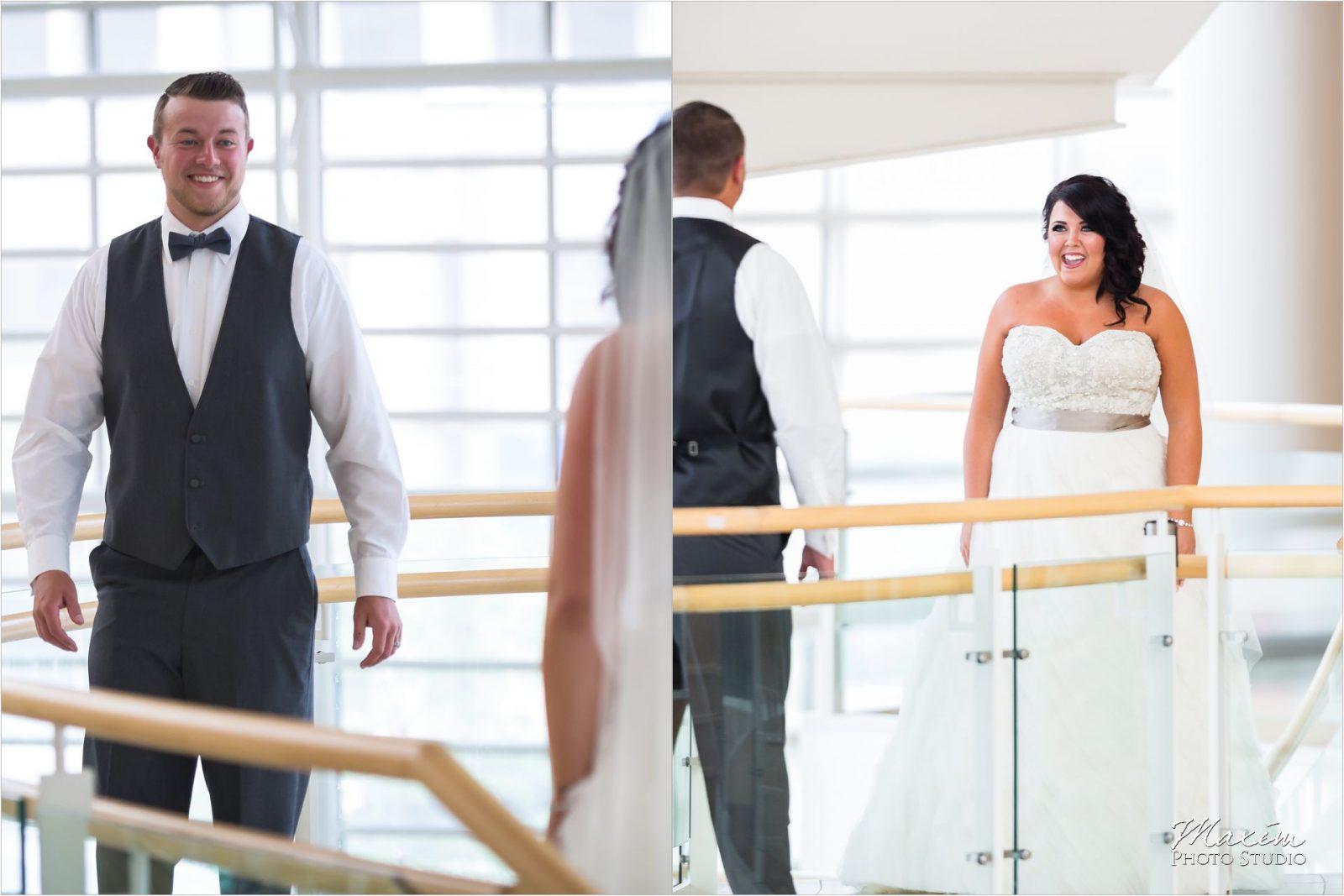 Schuster Center Dayton Ohio Wedding Bride First Look