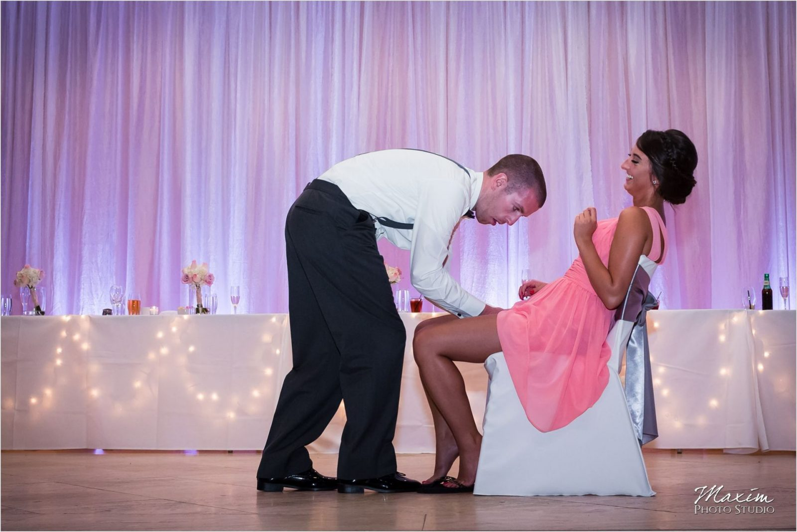 Group Photo Schuster Center Wedding reception garter