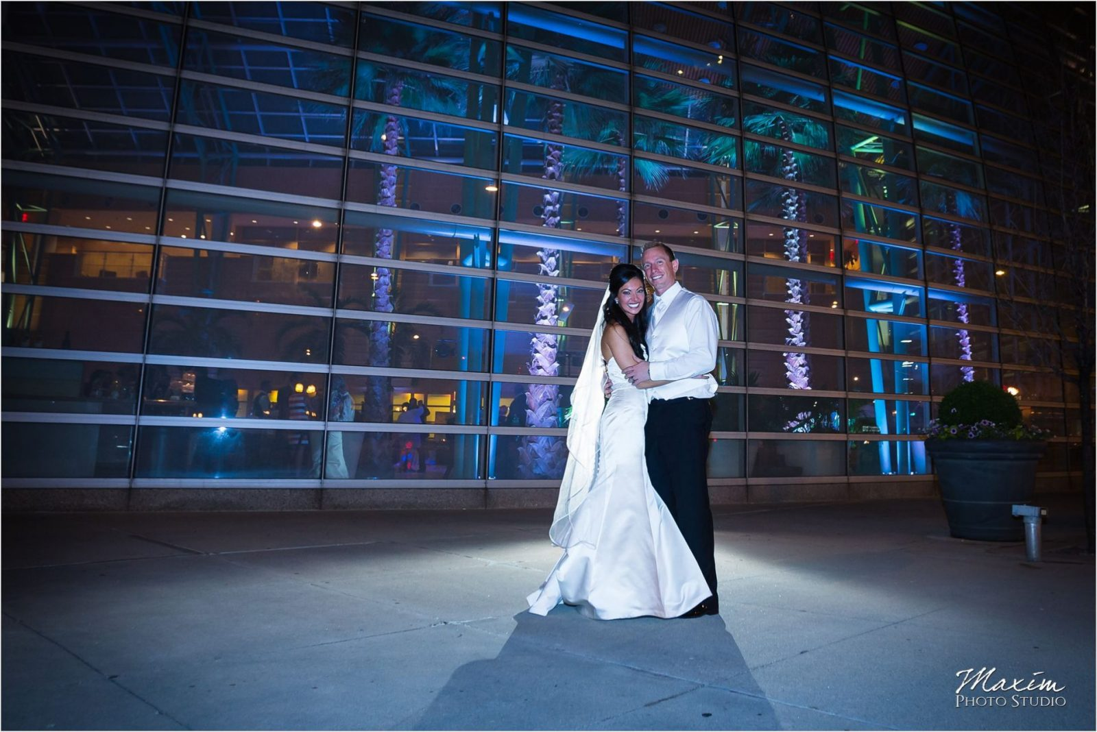Schuster Center Night Wedding Portraits Bride Groom