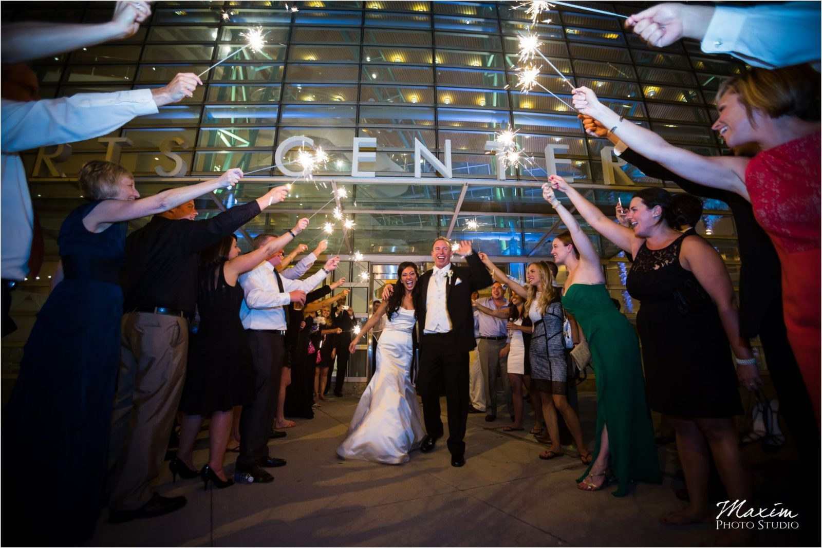 Schuster Center Sparklers Wedding Photography