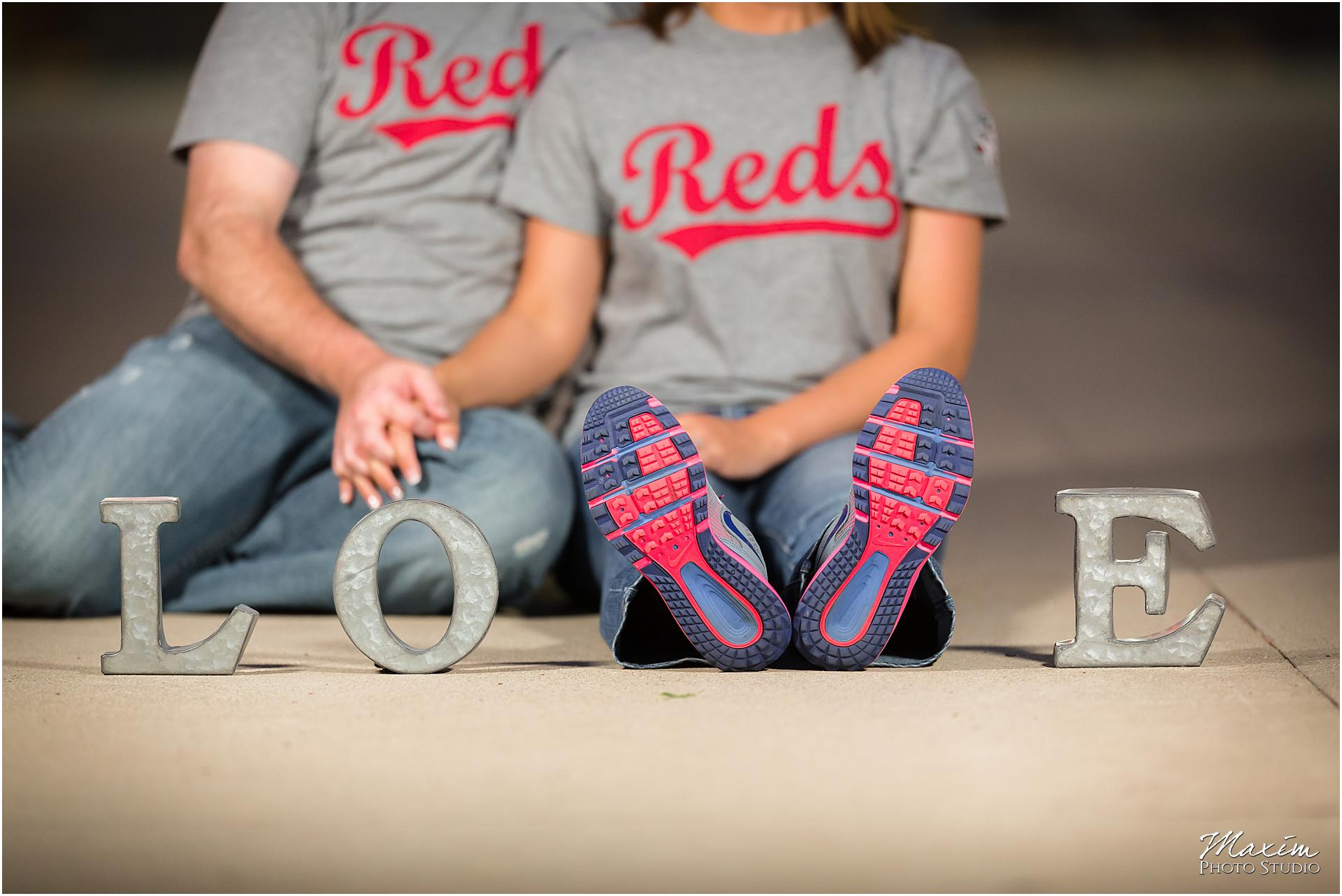 Great American Ballpark Love sign engagement