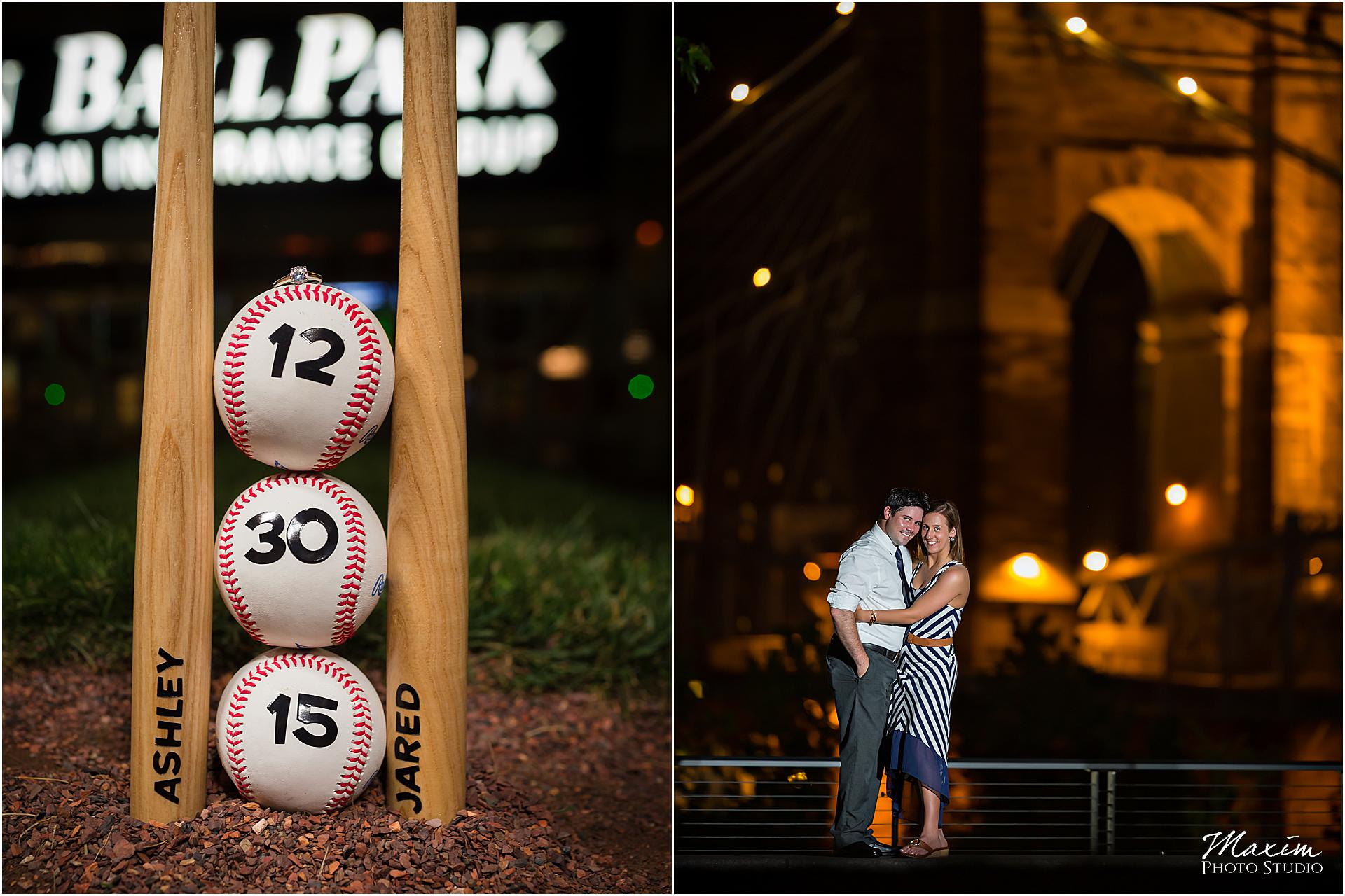 Baseball theme engagement baseball