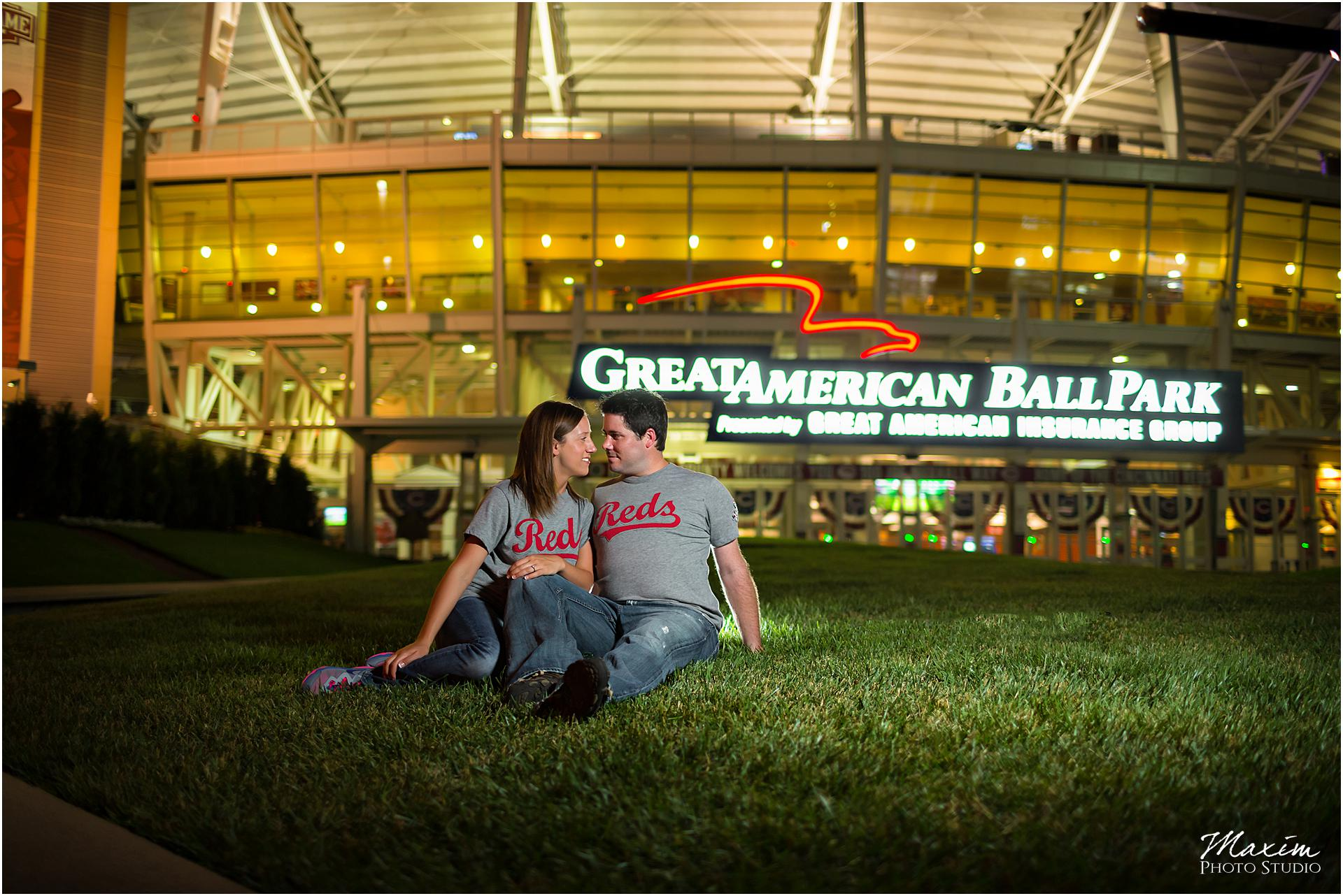 Great American Ballpark Cincinnati Engagement couple