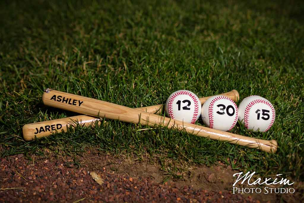 baseball bat ball reds stadium engagement photo
