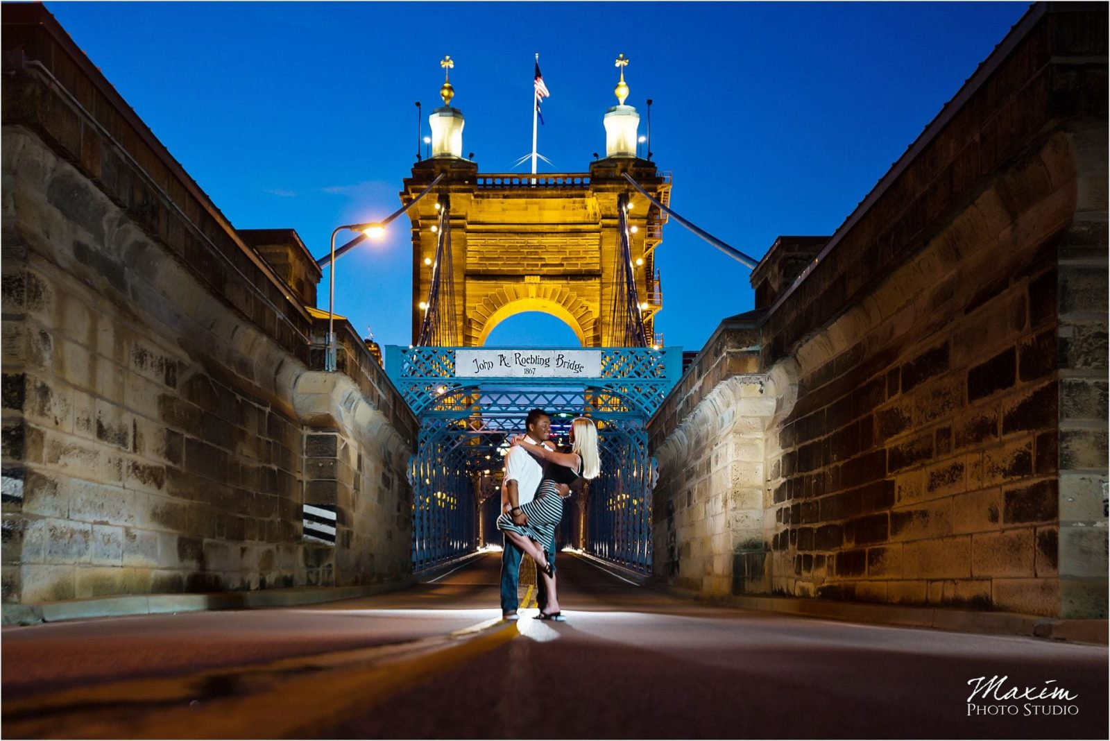 Cincinnati Wedding Photographers Roebling Bridge night engagement
