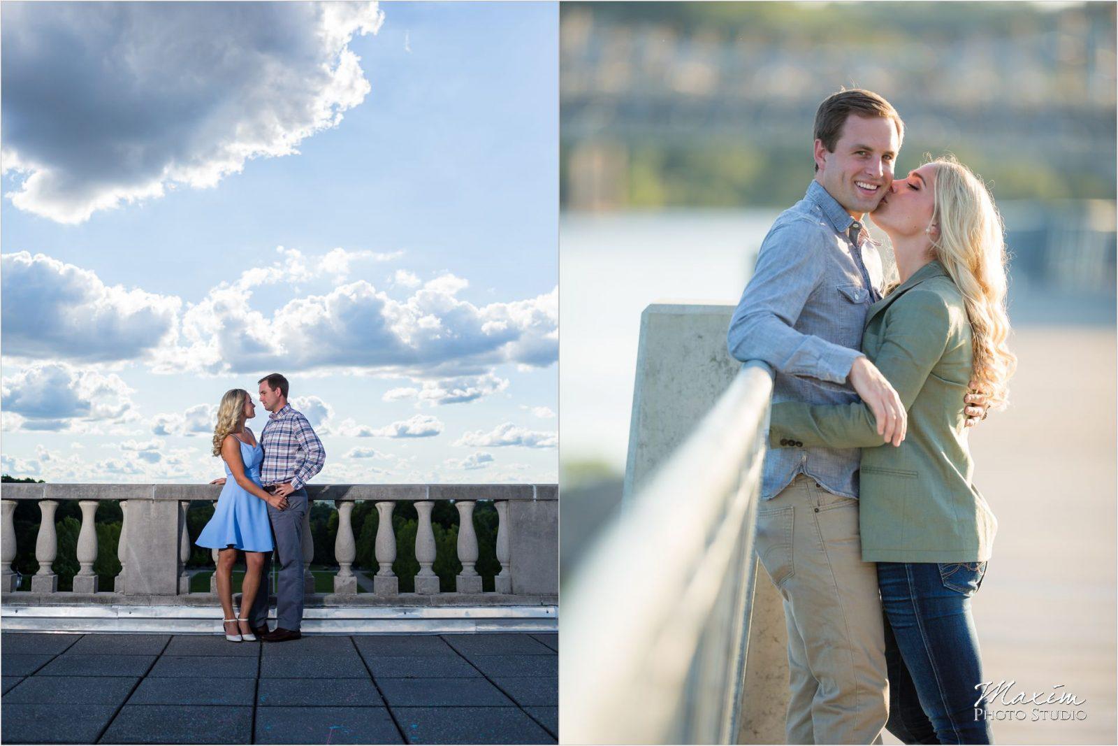 Ault Park Engagement Cincinnati Skyline Engagement