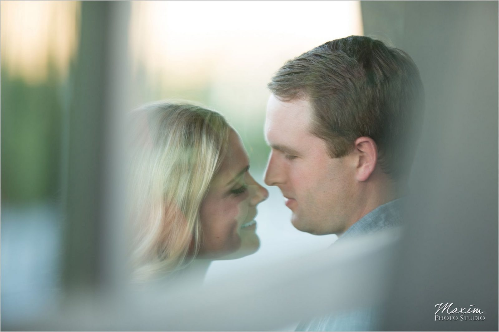 Moerlein House window reflection Cincinnati Engagement Photography