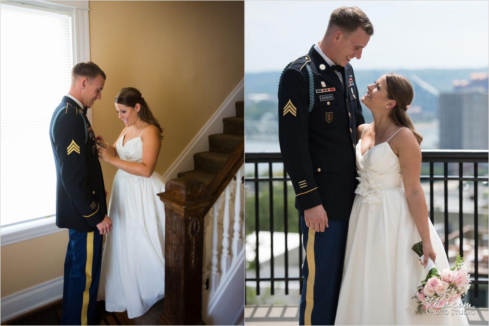 Cincinnati Wedding Photographers Mt Adams first look