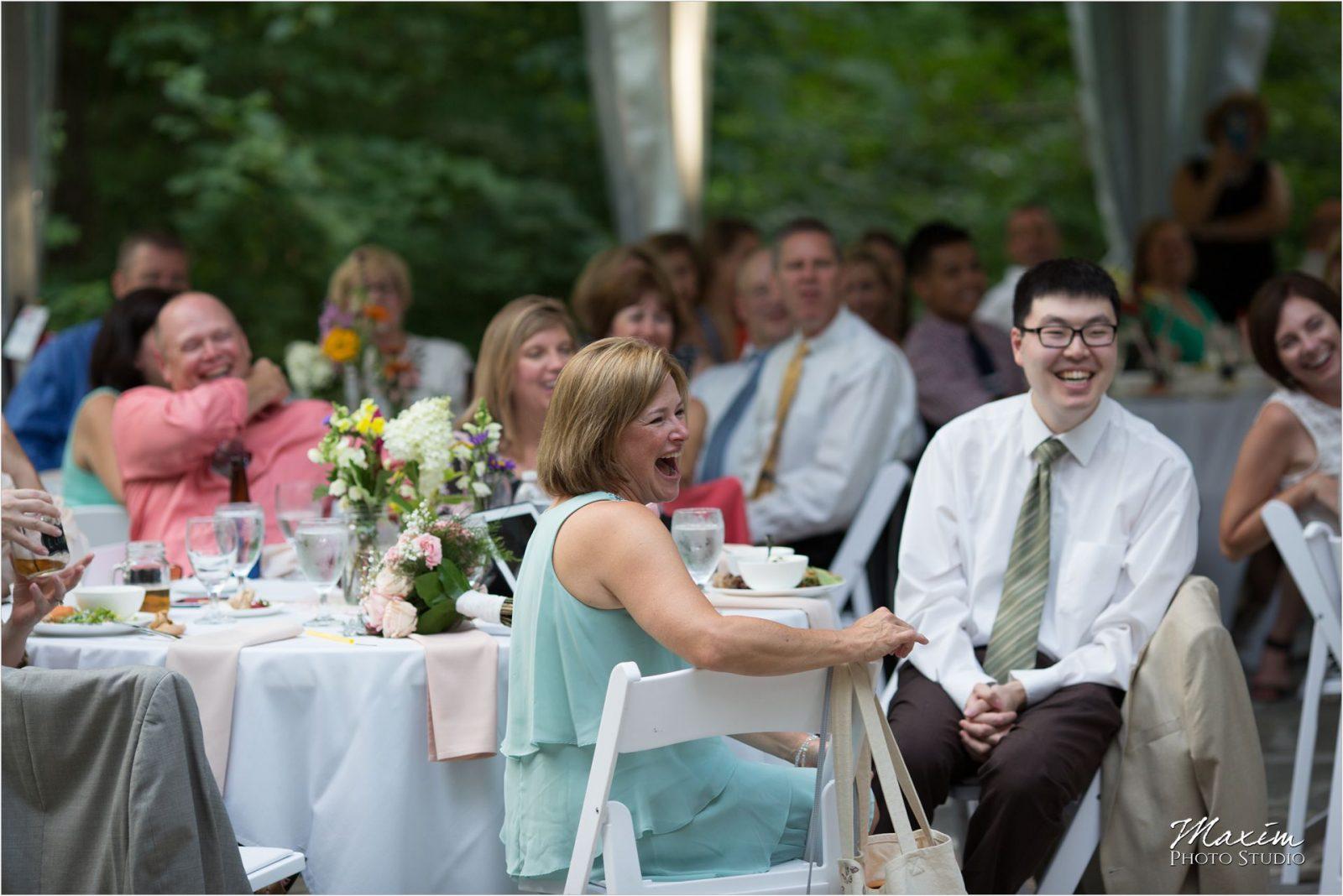 Cincinnati Wedding Photographers Krippendorf Lodge Cincinnati Nature Center Reception toast
