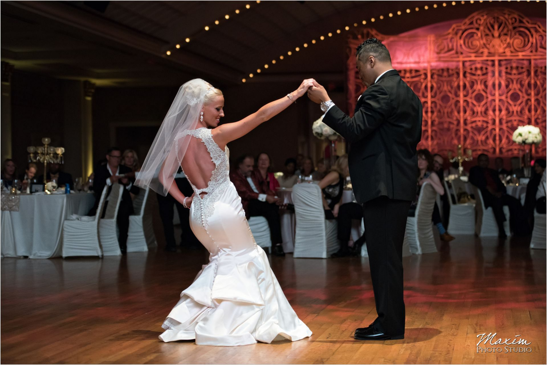 Cincinnati Wedding Photographers Music Hall Wedding Reception Bride Groom Dance