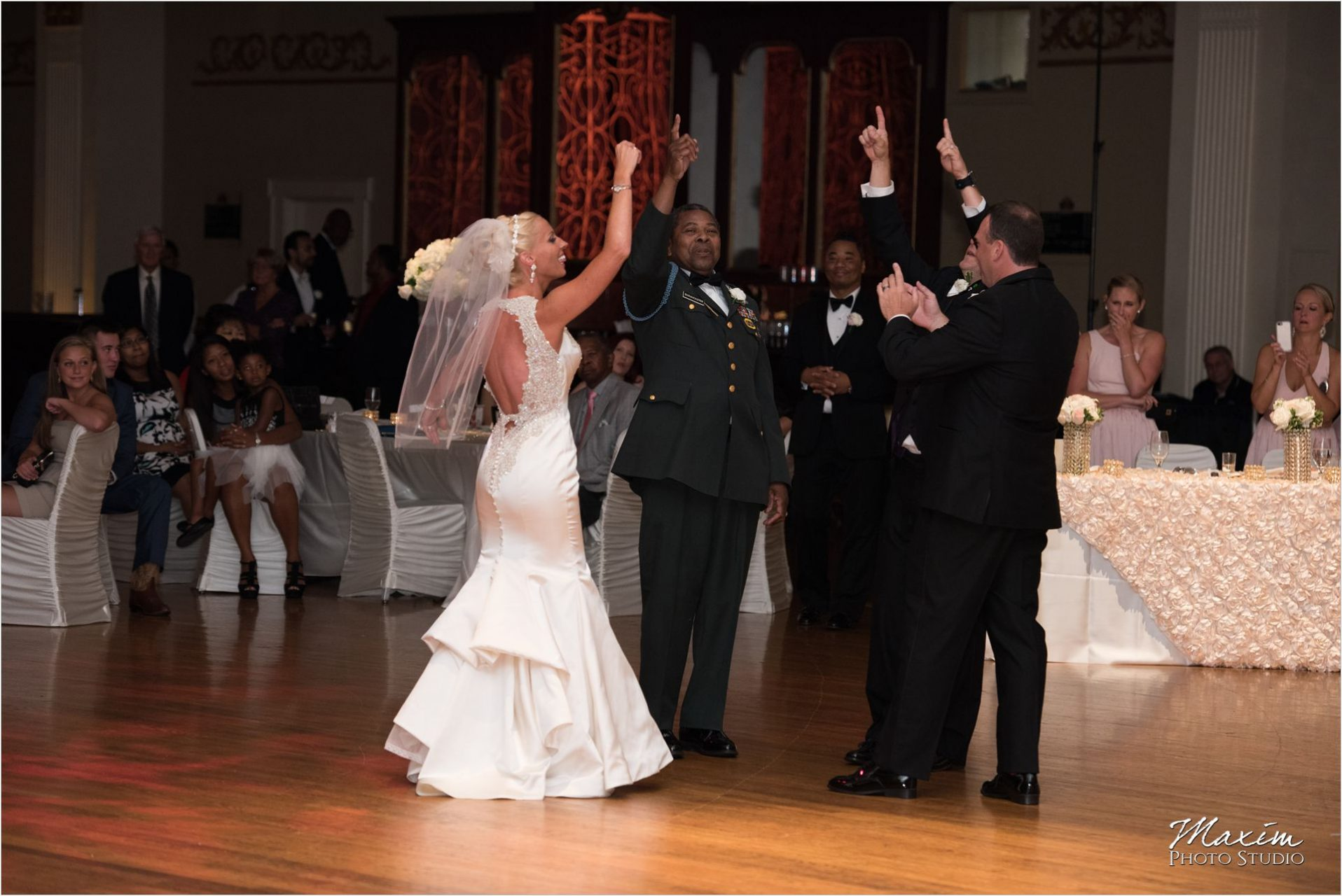 Cincinnati Wedding Photographers Music Hall Wedding Reception Group Dance