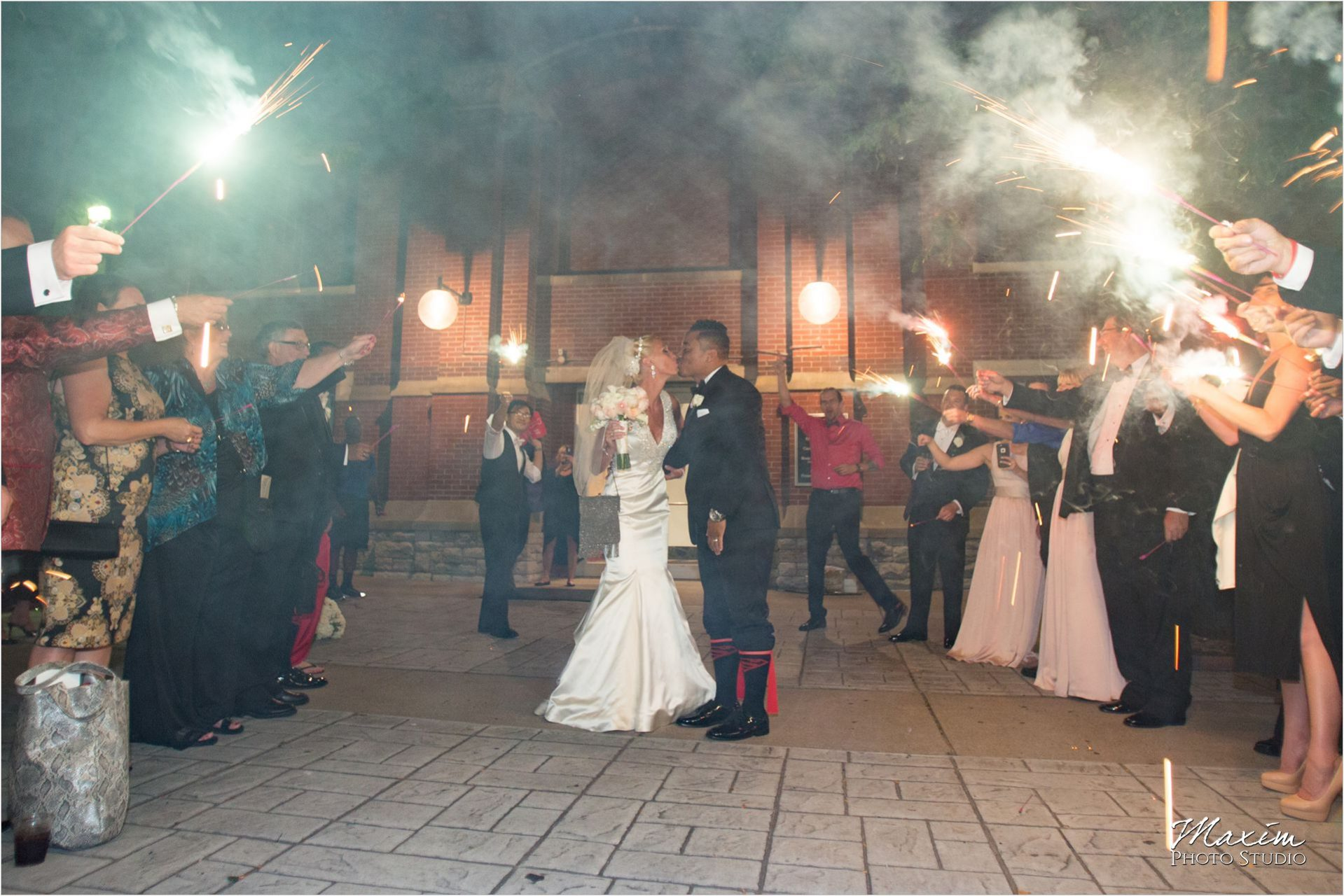 Cincinnati Wedding Photographers Music Hall Wedding Reception Sparkler exit