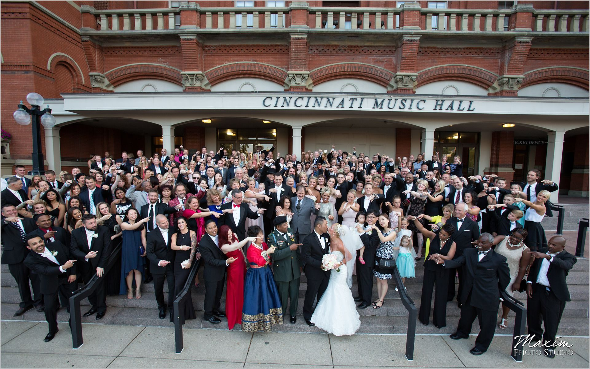 Cincinnati Wedding Photographers Music Hall Wedding Reception Group Photo