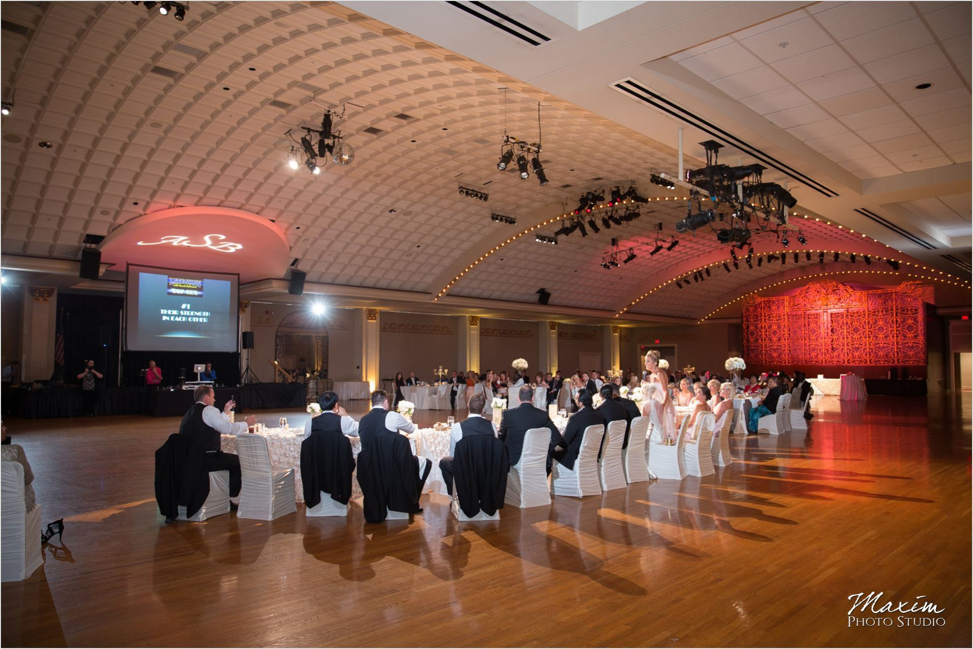 Cincinnati Wedding Photographers Music Hall Wedding Reception Toasts