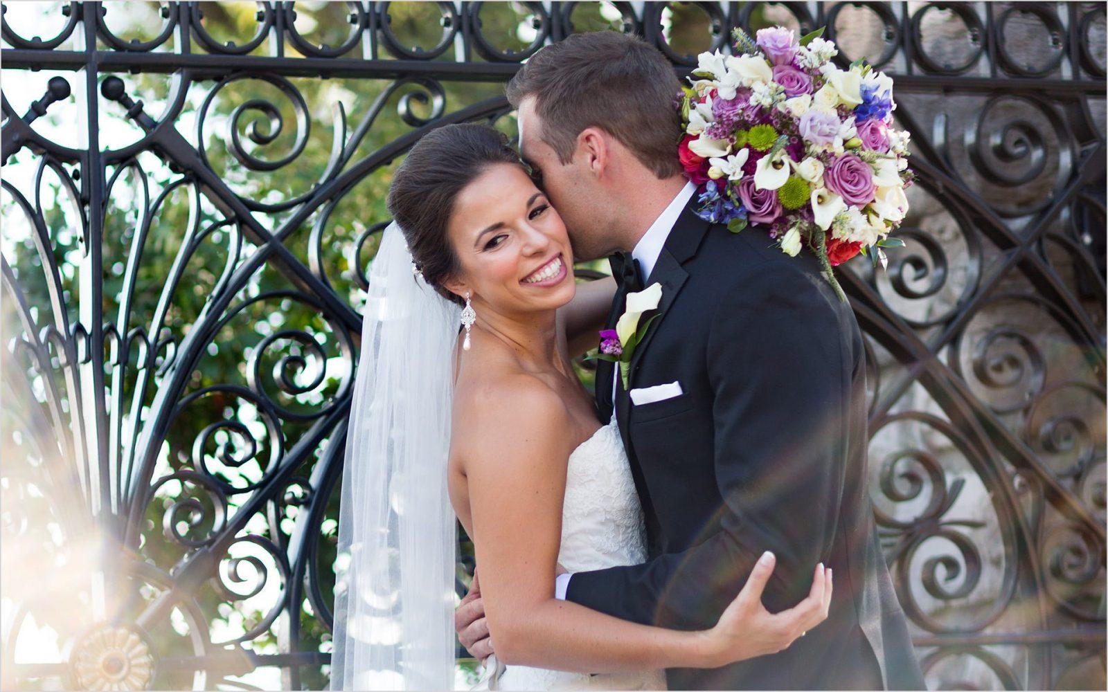 Cincinnati Wedding Photographers Rookwood sun spill wedding bride groom