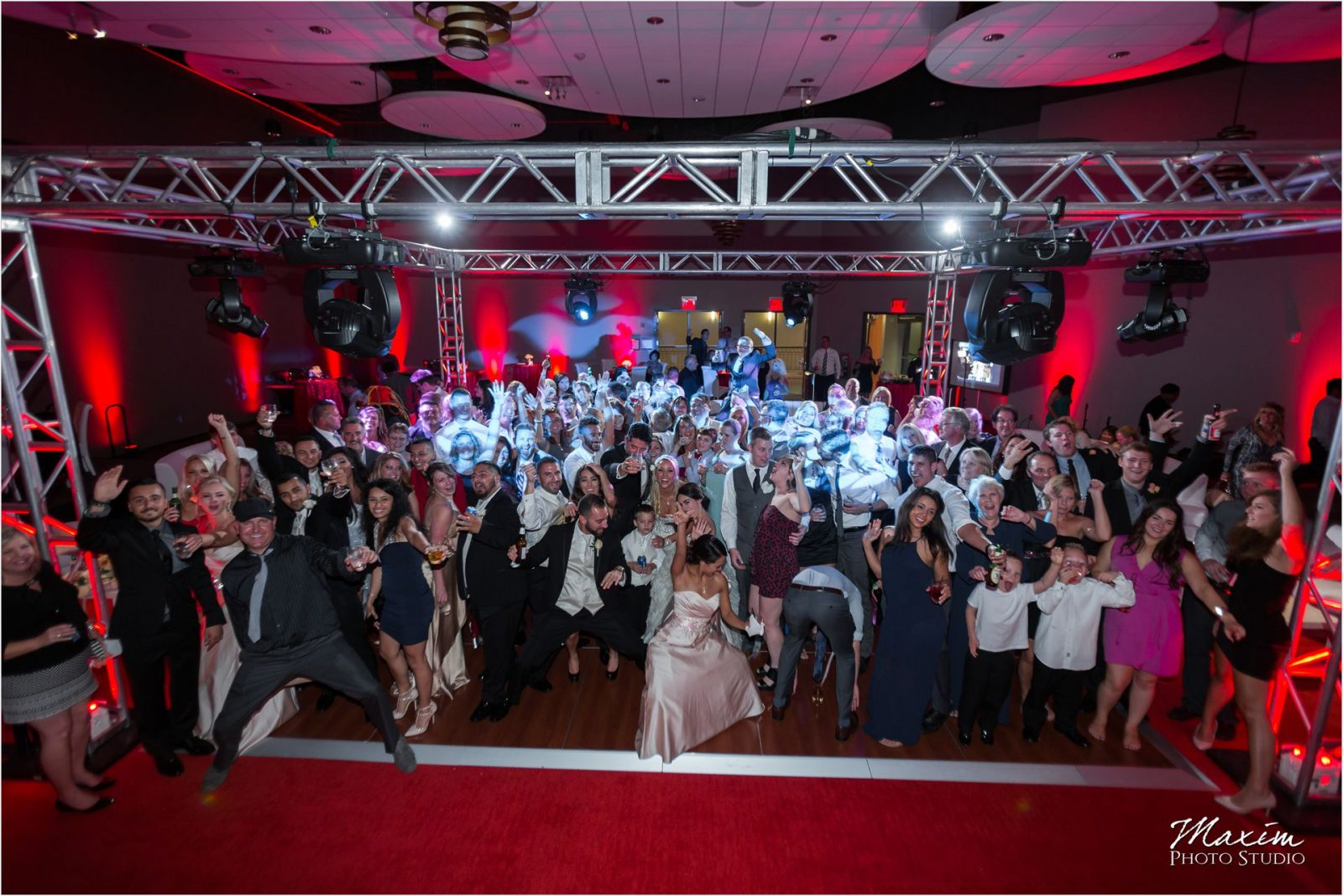 Cincinnati Wedding Photographers Sharonville Convention Center Wedding Reception Group Photo