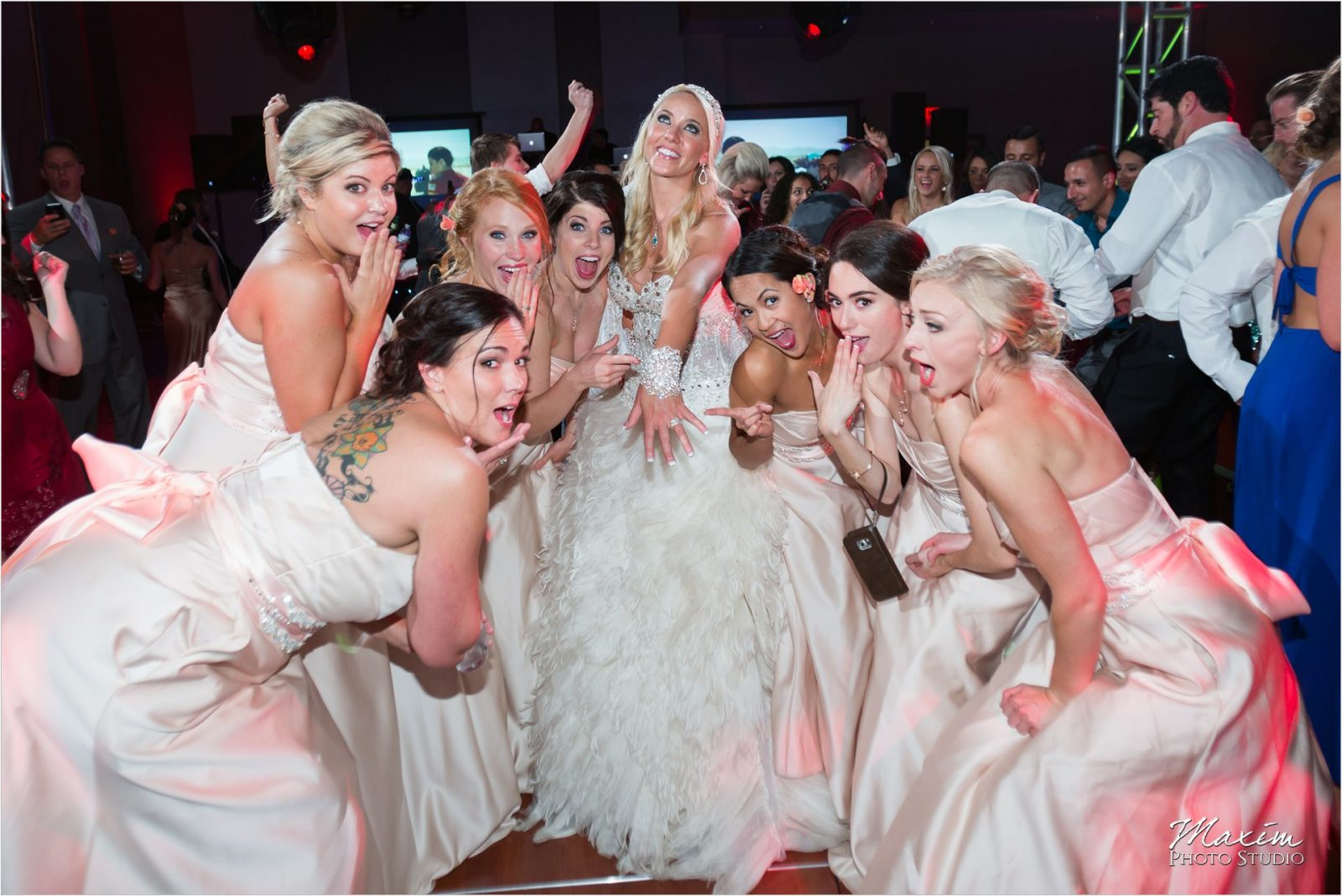 Cincinnati Wedding Photographers Sharonville Convention Center Wedding Reception bride ring bridesmaids