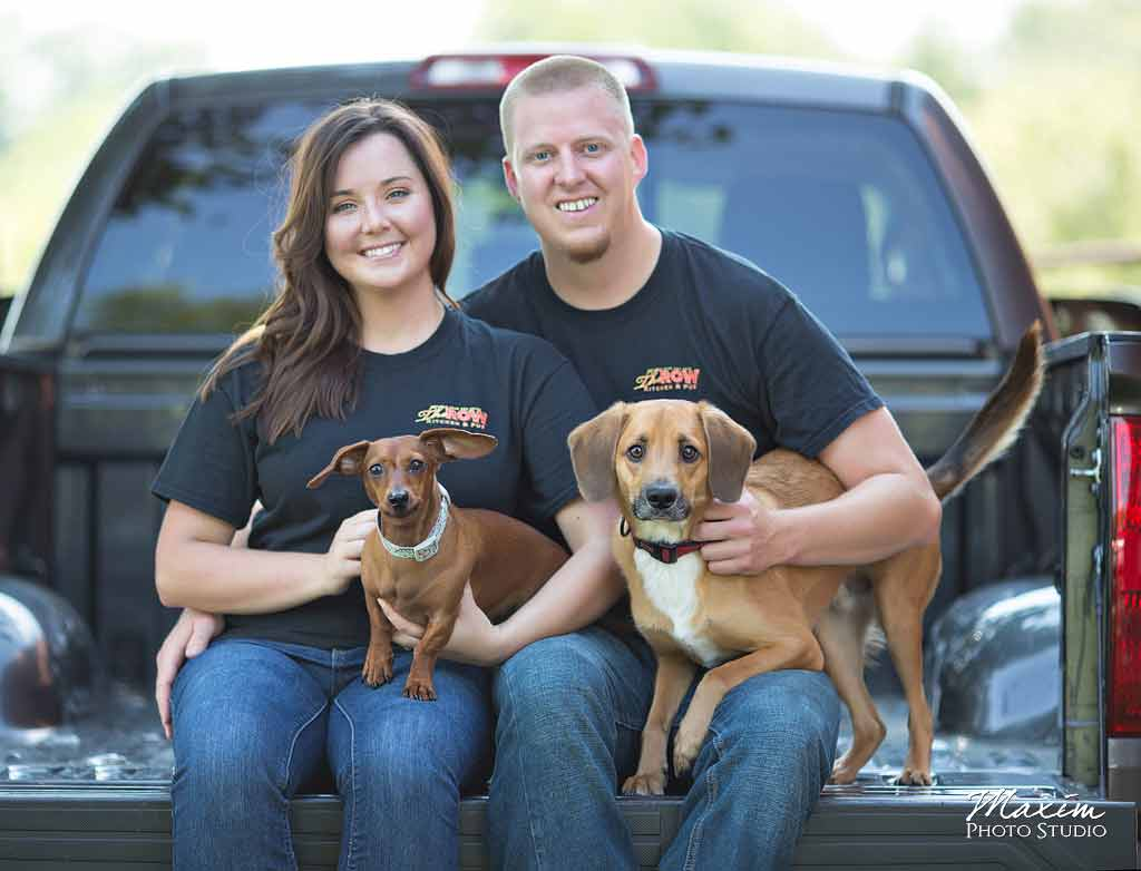 Trenton Ohio wedding engagement with dogs