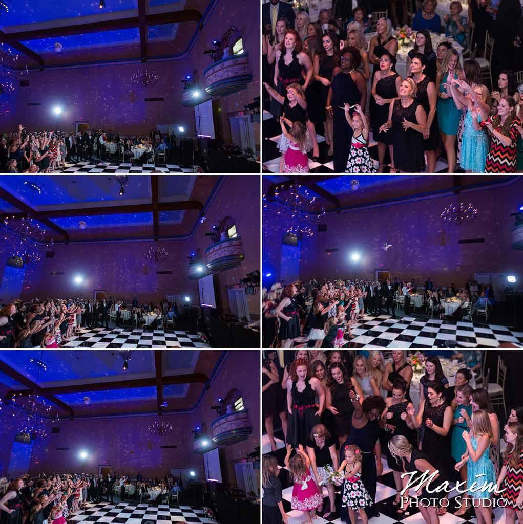 The Phoenix Cincinnati Wedding reception bouquet toss