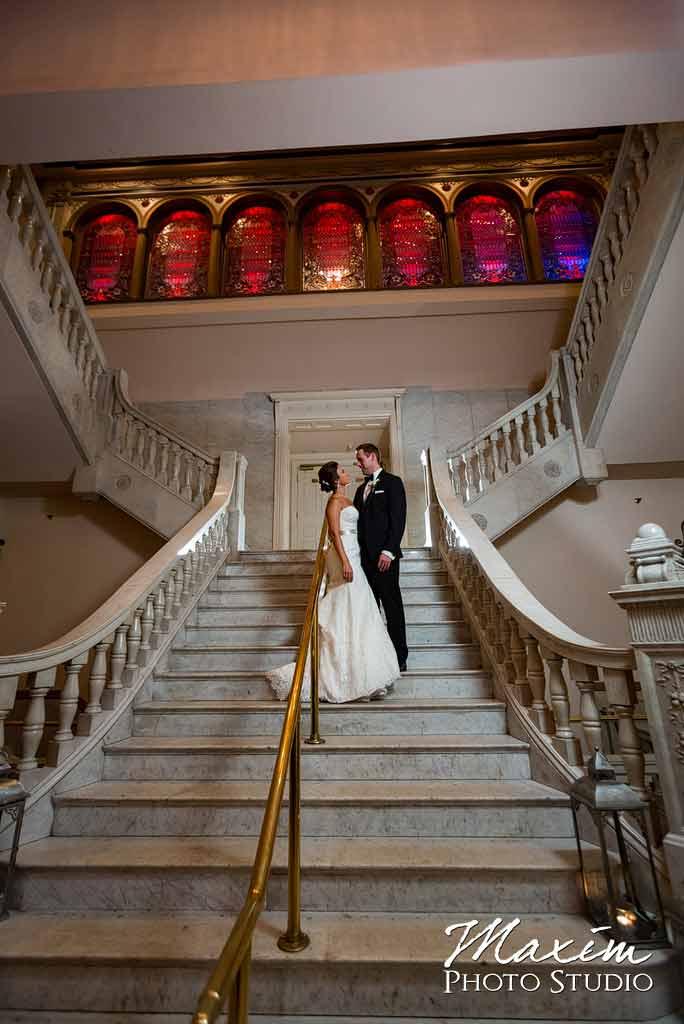 The Phoenix stairs Cincinnati Wedding